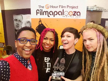 1310 Bandits accepts award at Filmapalooza in Seattle (L-R): G. Wright Muir, Niki Lopez, Tabatha Mudra & Nikki Saraiva.