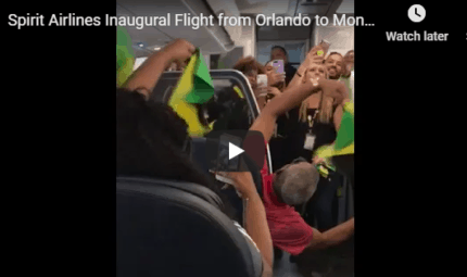 Spirit Airlines Inaugural Flight from Orlando to Montego Bay, Jamaica